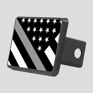 U.S. Flag: The Thin Grey L Rectangular Hitch Cover