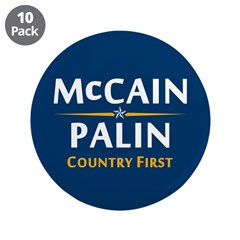 "Country First - McCain Palin 3.5"" Button (10"