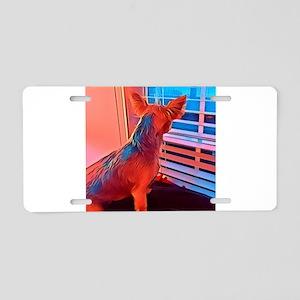 dog at window Aluminum License Plate