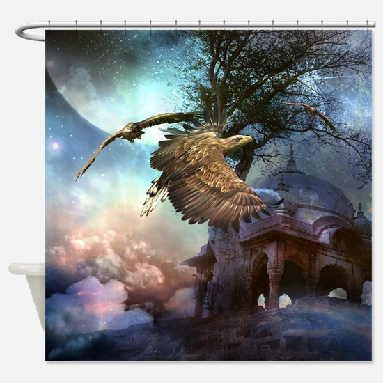 Awesome flying eagle in the night Shower Curtain