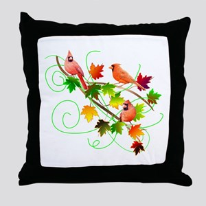 Three Cardinals Throw Pillow