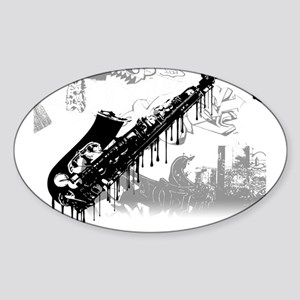 Sax Graffiti Oval Sticker