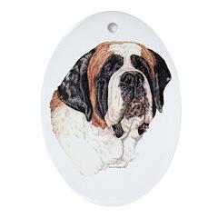 Saint Bernard Dog Portrait Oval Ornament