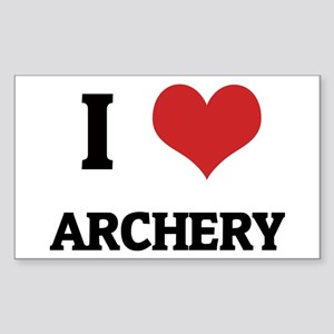 I Love Archery Rectangle Sticker