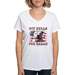 Pit Bulls for Sarah Women's V-Neck T-Shirt