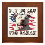 Pit Bulls for Sarah Framed Tile