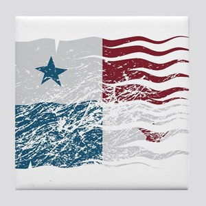 Wavy Panama Flag Grunged Tile Coaster