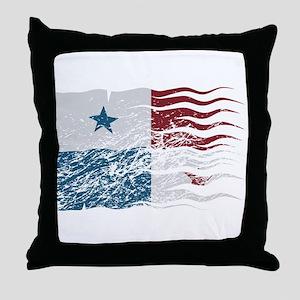 Wavy Panama Flag Grunged Throw Pillow