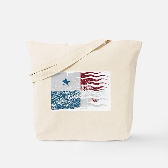 Wavy Panama Flag Grunged Tote Bag