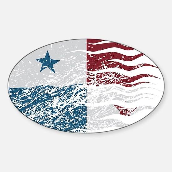 Wavy Panama Flag Grunged Decal