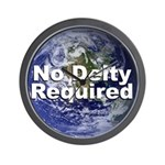 """""""No Deity Required"""" Wall Clock"""