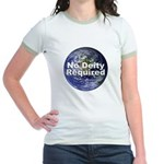 """""""No Deity Required"""" Jr. Ringer T-Shirt"""