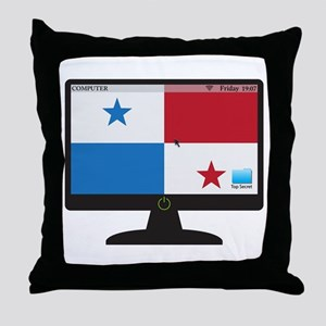 Panama Computer Screen With On Button Throw Pillow