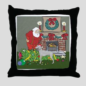 Santa's Helper Weimaraner Throw Pillow