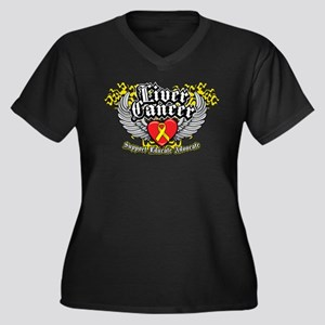 Liver Cancer Wings Women's Plus Size V-Neck Dark T