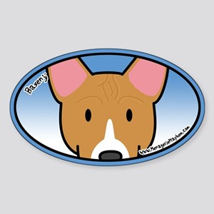 Anime Basenji Oval Sticker