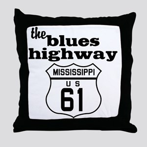 Blues Highway Throw Pillow