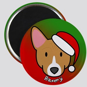 Cartoon Basenji Christmas Magnet