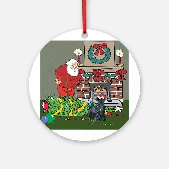 Santa's Helper Scottie Ornament (Round)