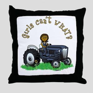 Dark Blue Farmer Throw Pillow