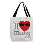 I Love BBQ Polyester Tote Bag