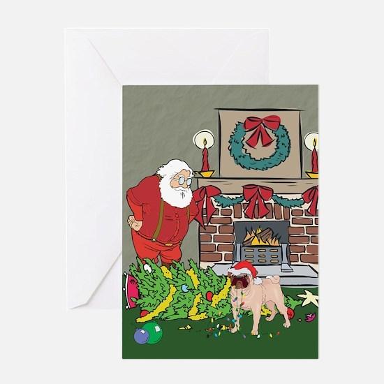 Santa's Helper Pug Greeting Card