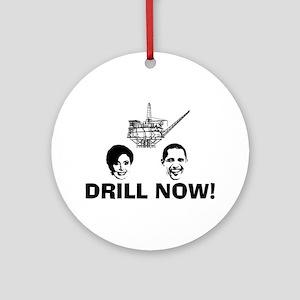 Drill Now Republican Oil Ornament (Round)