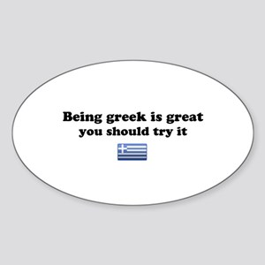 Being Greek Oval Sticker