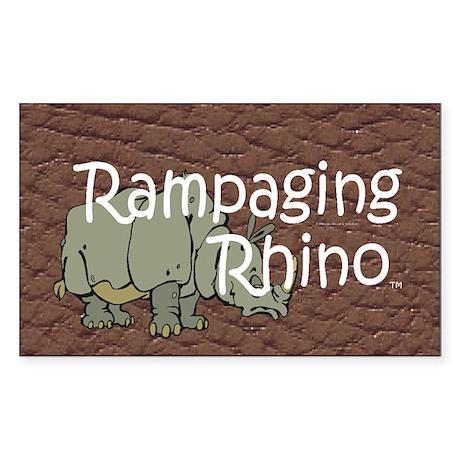 Rampaging Rhino Sticker (Rectangle)