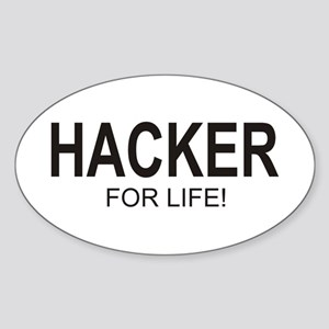 Hacker For Life Oval Sticker