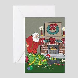 Santa's Helper Dachshund Greeting Card
