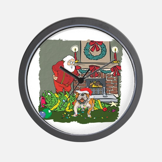 Santa's Helper Bulldog Wall Clock