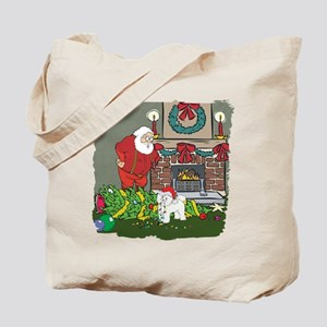 Santa's Helper Bichon Frise Tote Bag