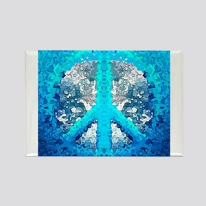 Abstract Blue Peace Sign s Magnets