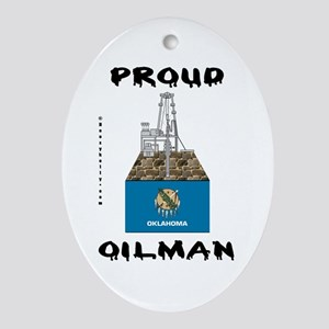 Oklahoma Oilman Oval Ornament