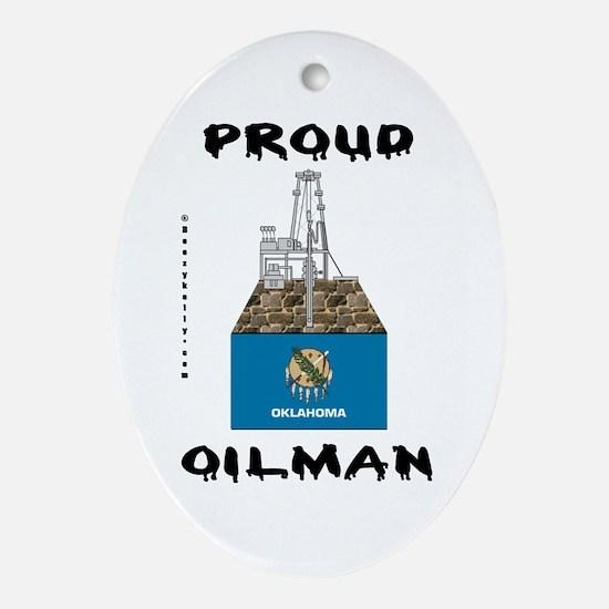 Oklahoma Oilman Oval Ornament