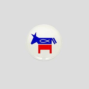 Christian Fish Democratic Donkey Mini Button