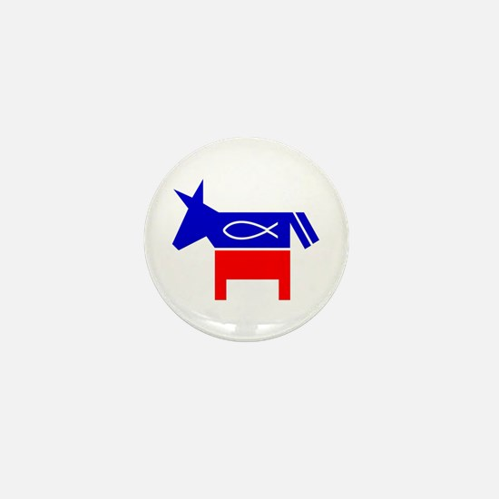 Christian Fish Democratic Donkey Mini Button