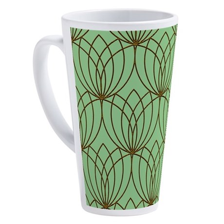 Gold Tulip Shapes, Mint Green 17 oz Latte Mug