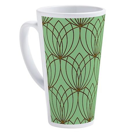 Gold Tulip Shapes, Mint Green 17 oz Latte Mug