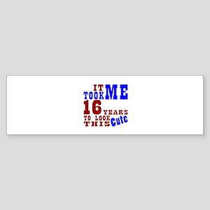 16 Cute Birthday Sticker (Bumper)