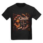 Quilt Pumpkin Kids Dark T-Shirt