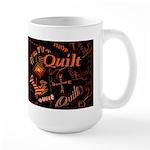Quilt Pumpkin Dark Large Mug