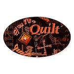 Quilt Pumpkin Oval Sticker