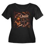 Quilt Pumpkin Women's Plus Size Scoop Neck Dark T-