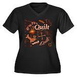 Quilt Pumpkin Women's Plus Size V-Neck Dark T-Shir