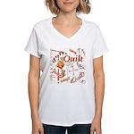 Quilt Pumpkin Women's V-Neck T-Shirt