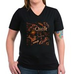 Quilt Pumpkin Women's V-Neck Dark T-Shirt