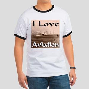 I Love Aviation Ringer T