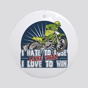 Hate to Lose Motocross Ornament (Round)